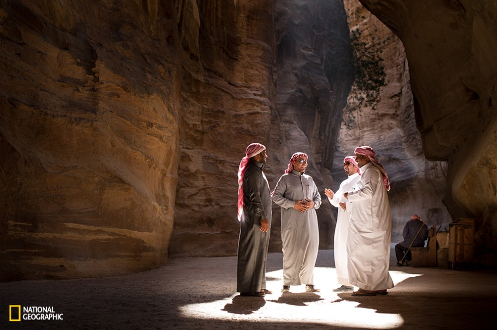 I was walking on my way back from Petra when I saw these gentlemen standing at the perfect light spot