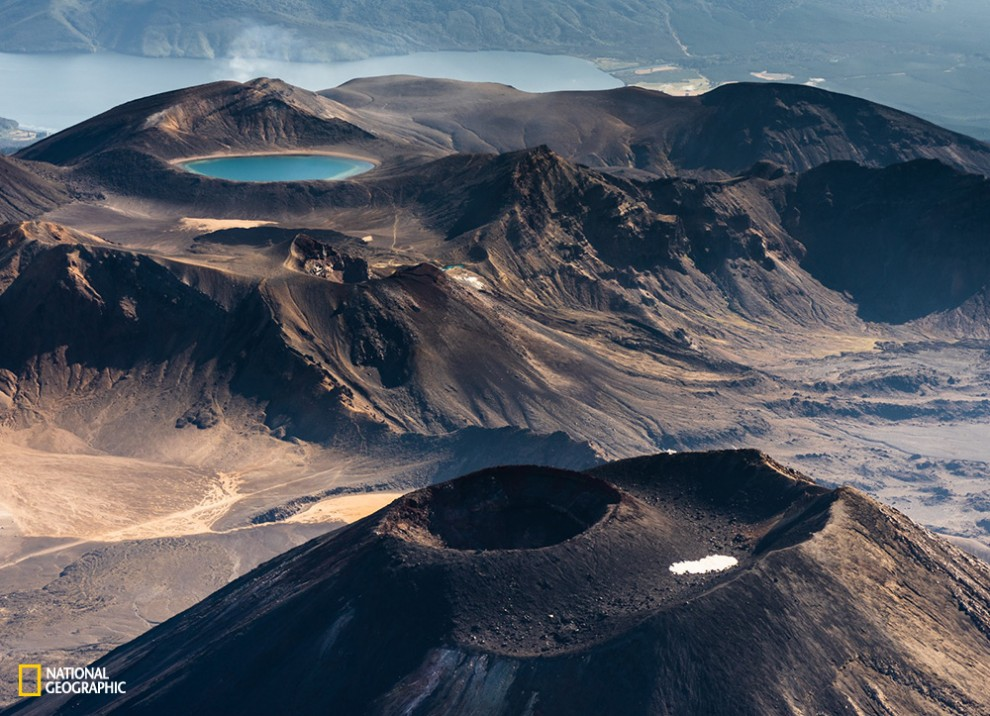 Aerial shot was taken in Tongariro national park, New Zealand