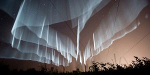 Very Sharply Defined Rare White Curtain Auroras Seen Over Finland