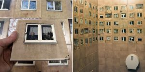 """""""WC For Architects"""":  Old Toilet Wall Decorated With Photos Of Windows From The Neighbourhood"""