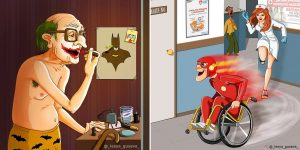 Russian Artist Portrayed Retired Superheroes: Now They Are Nice Granny And Granddaddy