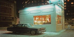 Parked Cars Under Streetlamps In 1970s New York City