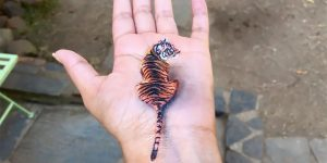 Artist Creates Temporary 3D Paintings On Her Left Hand
