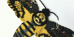 A Realistic Knitted Death's Head Hawkmoth