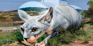 French Artist Turns A Gas Tank Into A Giant 3D Sphynx Cat