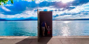 This Underwater Observatory in Lake Zug in Switzerland Looks Like a Real Life 'Truman Show' Door