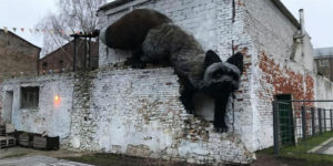 An Unusual Art Object - a Giant Black Fox Appeared in Riga, Latvia