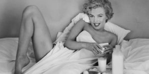 Playful Pictures of Marilyn Monroe Having Breakfast in Bed, 1953