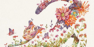 Japanese Artist Depicts Cats, Dogs, And Other Animals Using Watercolor Flower Arrangements