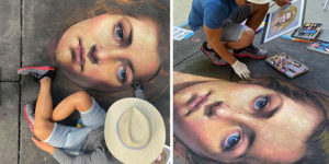 Cuong Nguyen Uses The Streets As A Canvas For His Incredibly Realistic Chalk Portraits